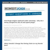 What has the Honest John team been asked this week?