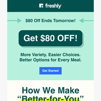 $80 OFF on Meals Better for You