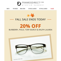 Welcome Fall Sale Ends Today: 20% Off Burberry, Polo, Tory Burch & Ralph Lauren