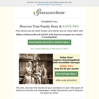 LOWEST PRICE EXTENDED – Today Only! Discover Your Ancestors Story.