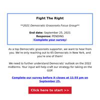 (1) Focus Group invite. Democrats needed: