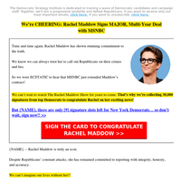 TO: Rachel Maddow! | 🎉 Congratulations!!