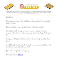 Wild Rumor: U.S. Treasury to Stop Printing Money?←