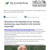 The Evening Wrap:  Diversity is our strong democracy's identity, Modi tells U.N. General Assembly