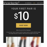 TODAY: $10 for your first pair