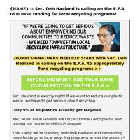 Sec. Deb Haaland's AMAZING plan (re:  New York Recy cling programs)