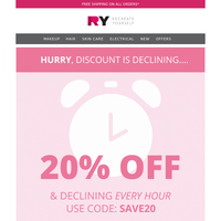 COUNTDOWN IS ON ⏰ 20% Off & Declining...