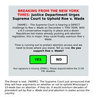 NYT: Supreme Court Urged to Reject Mississippi's Attack on Roe v Wade