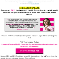 Democrats in the House vote to establish Roe v Wade into federal law
