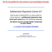 {NAME}'s Has Your Settlement Check Arrived?