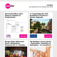 Microsoft Office Home & Student 2019 £29.95 | 4* Cambridge for 2: Breakfast & Prosecco | Afternoon Tea & 'Bottomless' Prosecco £29 | Luxury Facial £19 | Spa Access, Treatment & Afternoon Tea £79