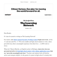 Learning Network: Our Narrative Writing Contest!