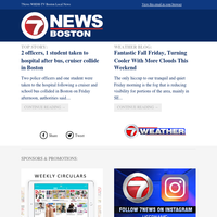 WHDH Daily Update:2 officers, 1 student taken to hospital after bus, cruiser collide in Boston