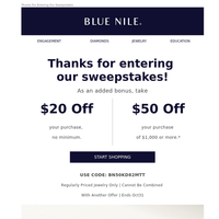 You're Entered To Win! Here's $50 On Us