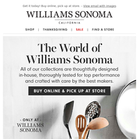 Only at Williams Sonoma: explore our top collections + shop Warehouse Sale