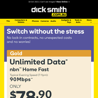 Unlock Unlimited Data with Kogan Gold nbnTM Only $78.90/Month!