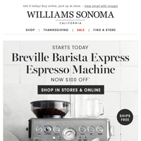 Starts NOW ☕ $100 OFF the Breville Barista Express Espresso Machine