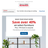 It's over 40% off. On what?! Select furniture for your workspace.
