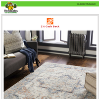 Home Depot: Up to 30% off Select Rugs + 1% Cash Back