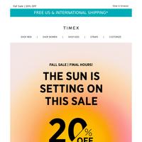 Final fall sale hours 🍂  20% OFF