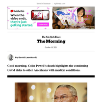 """The Morning: Colin Powell, """"mix and match"""" boosters, a subway derailment"""