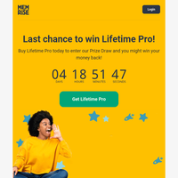 The Lifetime Pro Prize Draw ends today! 😳