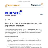 Blue Star Gold Provides Update on 2021 Exploration Program