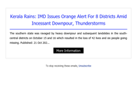 {EMAIL}, IMD Issues Orange Alert For 8Districts Heavy Rainfall With Thunderstorm Lashes Several Parts Of Kerala