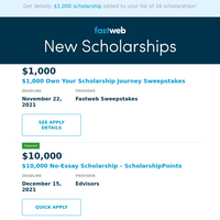Congrats! You Qualify for a $1,000 Scholarship