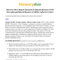 Discovery Silver Reports Measured & Indicated Resource of 910 Moz AgEq and Inferred Resource of 140Moz AgEq for Cordero