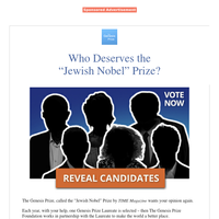 """Discover the """"Jewish Nobel"""" Prize candidates"""