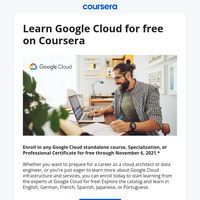 New offer from Google Cloud - Learn for free