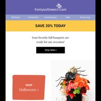 20% Off Halloween Bouquets & Sweet Treats 🧡