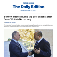 Shabbat in Russia for PM as 'warm' Putin talks run long * 3,000 new settlement homes planned * Van Gogh's Nazi-looted 'Wheatstacks,' from both sides * Warhol in Tehran