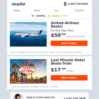 ✈ United Airlines Deals! Fly from $50.99