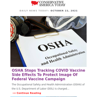 JUST IN: OSHA Stops Tracking COVID Vaccine Side Effects...