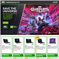 Save The Universe. Buy select GeForce RTX 30 Series Desktops or Laptops, Get Marvels Guardians of the Galaxy (Oct 5-28)