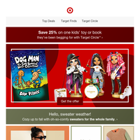 25% off one toy or kids' book with Target Circle.