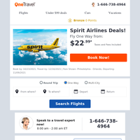 Spirit Airlines Deals: Fly from $22.99!