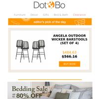 Editor's Pick: Angela Outdoor Wicker Barstools (Set of 4)