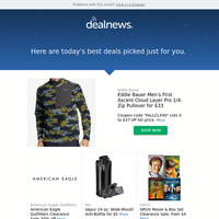 Your DealNews: Eddie Bauer Men's First Ascent Cloud Layer Pro 1/4-Zip Pullover for $33 & More