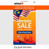 ✈ Continue the celebrations with Merdeka Sale! Singapore, Perth, Bangkok and more.